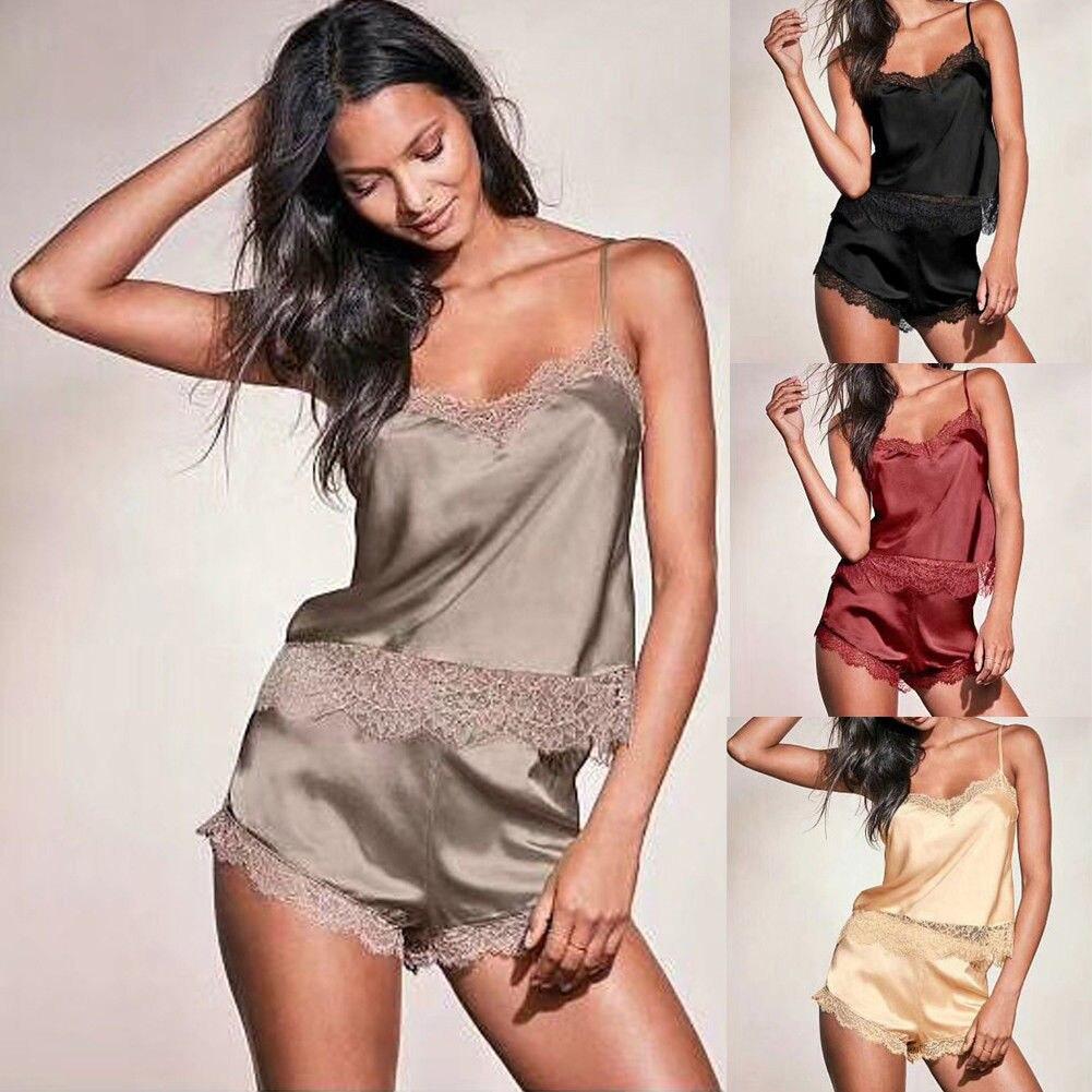 2PCS Fashion Pajama Sets Satin Robe Kimono Nightdress Sleepwear Summer Casual Nightwear 2pcs