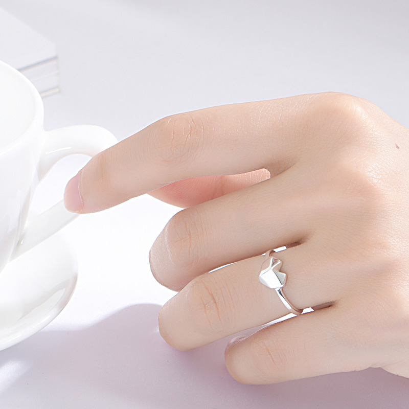 Flyleaf 100 925 Sterling Silver Stitching Heart Open Rings For Women Adjustable Fashion Party Jewelry in Rings from Jewelry Accessories