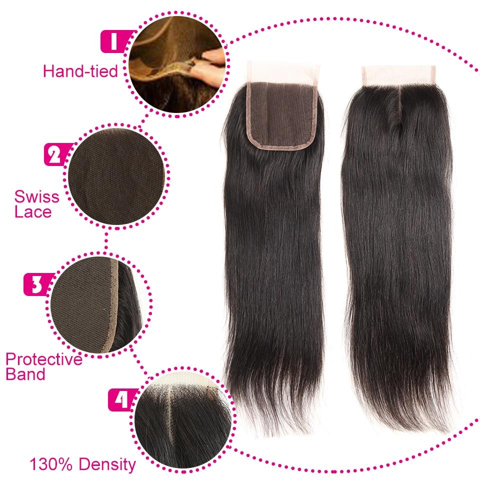 Peruvian Hair Bundles Straight Hair 3 Bundles With Closure Joedir - Skönhet och hälsa - Foto 4