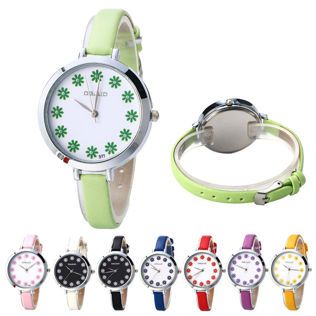 Women Children Watch Fashion Simple Table Belt Quartz Lady Dress Wrist Watch Gif