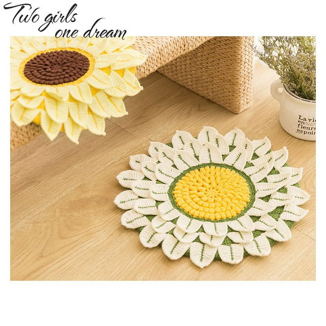 36cm Handmade Crochet Seat Cushion Diy Sofa Mat Romantic Sunflower