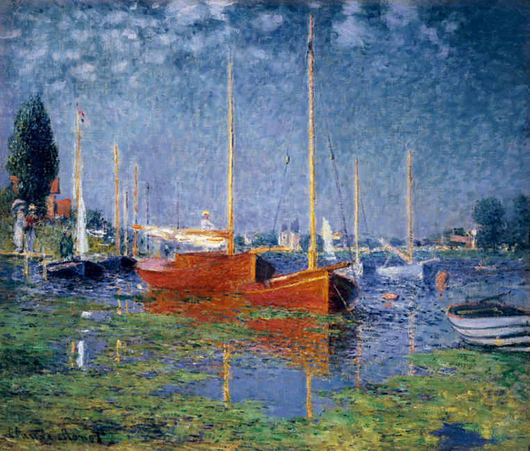 Claude Monet Painting Argenteuil Red Boats Home Wall Painting Decor Painting Canvas For Living Home in Painting Calligraphy from Home Garden