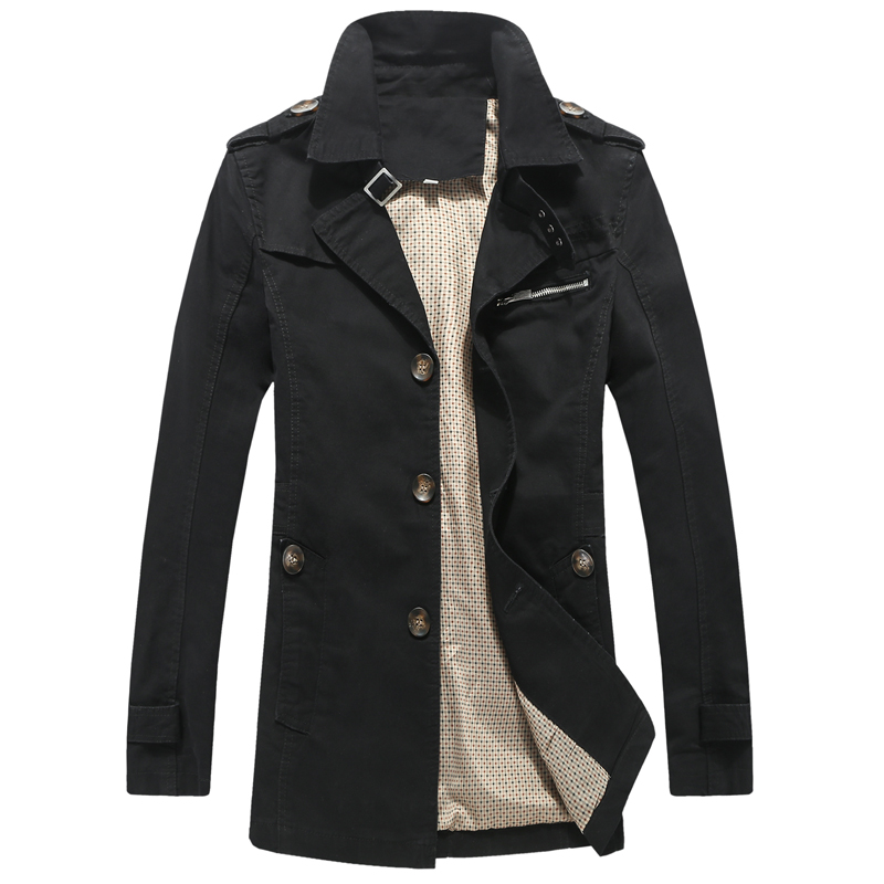 new spring men trench coat single breasted cotton slim fit long coat outwear windbreaker 4XL 5XL CCL05