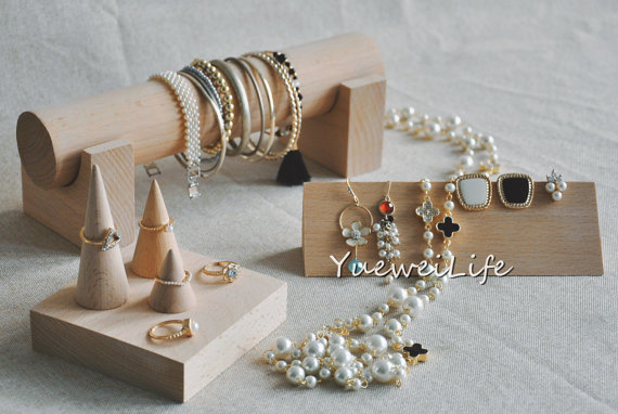 Solid Wood Jewelry Display Holder Ring Display Holder Jewelry Blocks Earrings Display Holder Bangle Bracelets Display Stand