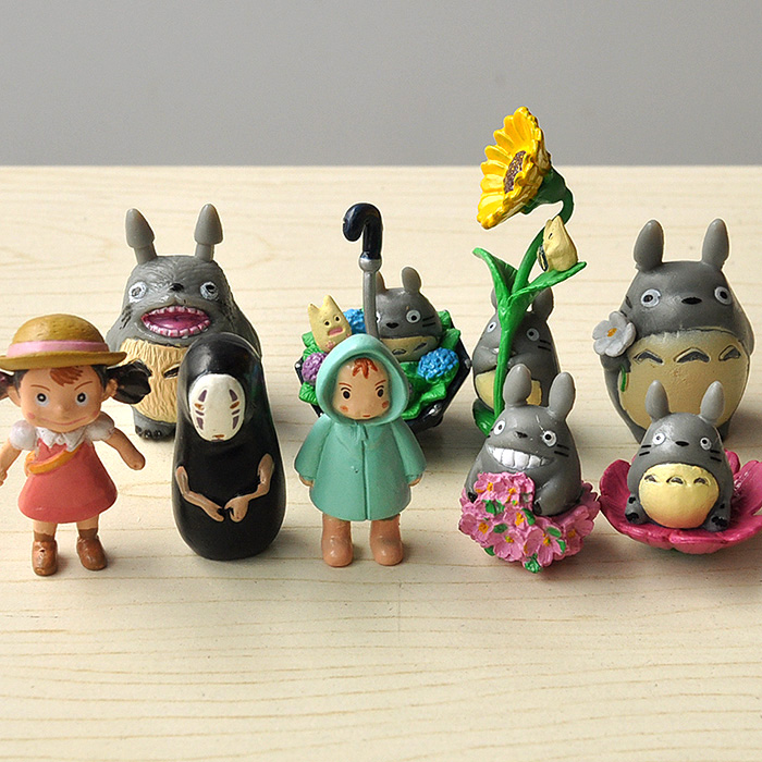 9pcs/lot 3-5cm Anime My Neighbor Totoro Spirited Away No Face Toy Hayao Miyazaki Mini Garden PVC Action Figures Kids Toys