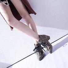 5b2833146 Botas Das Mulheres Da Moda Sapatos De Pano Xadrez Pontas-Toe  Não-Deslizamento Calcanhar Grosso Martin Botas Novo Estilo de Moda .