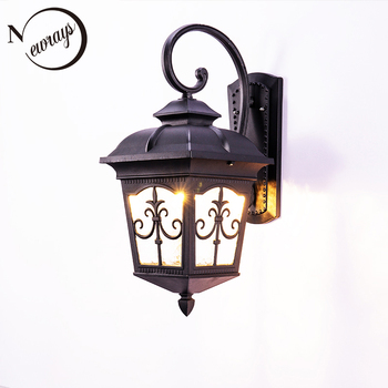 Vintage iron glass outdoor wall lamp country waterproof rustproof wall light LED E27 for balcony patio aisle yard garden park