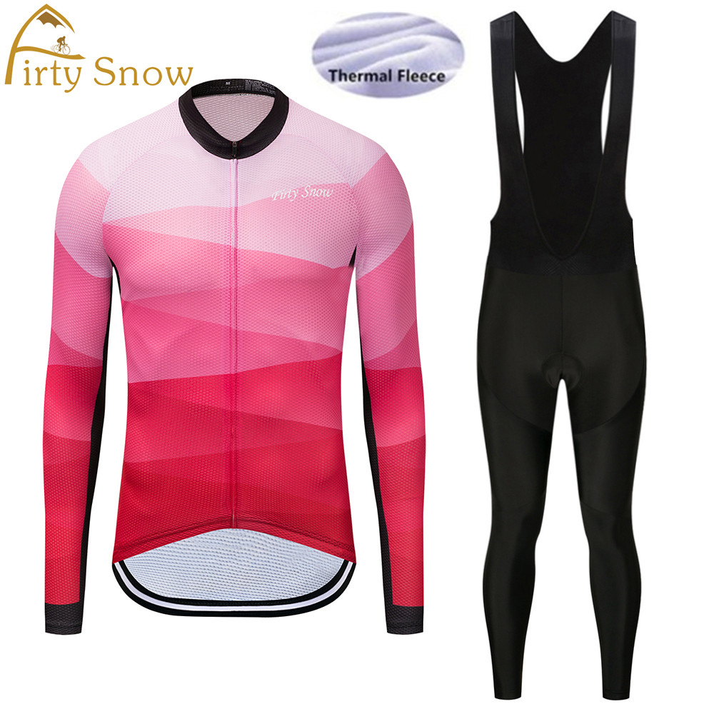 Firty sonw Men Winter Thermal Fleece Pro Team Long Sleeve Cycling Jersey Ropa Ciclismo Anti-Wrinkle Cycling Jersey bib Pant sets