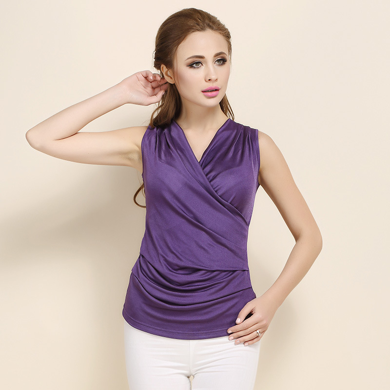 Woman Spring Hot Sale Solid V neck Sleeveless Knitted 100 Silk Tops Female Summer Oversized Hedging