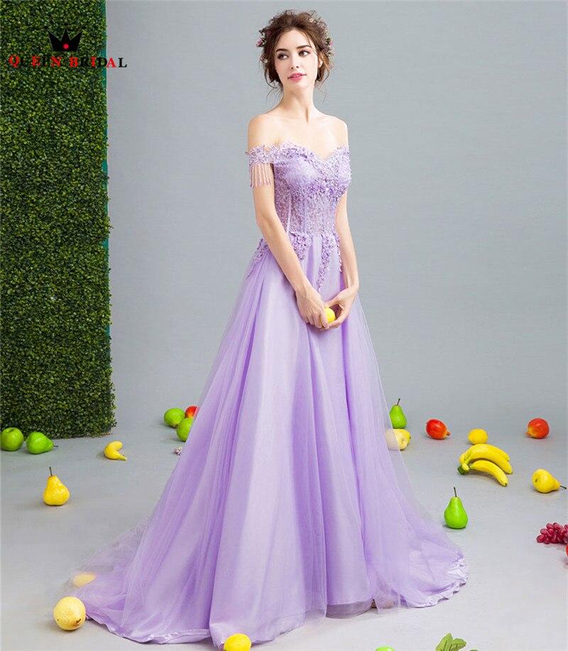 ad0615a4f2d2d42 Элегантные фиолетовые Вечерние платья 2019 модные трапециевидные кружевные  цветы Тюль Crsytal вышитое бисером вечернее платье,