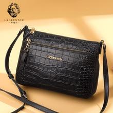 LAORENTOU Lady Vintage Aligator High Quality Messenger Bag Women Luxury Shoulder Bags Female Cowhide Leather Crossbody