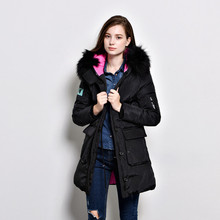 Winter New Real Large Raccoon Fur Collar White Duck Down Jacket Zipper Medium Long Parka Slim