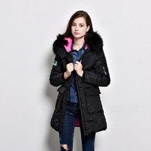 Winter New Real Large Raccoon Fur Collar White Duck Down Jacket Zipper Medium Long Parka Slim Women Down Coat Thickening