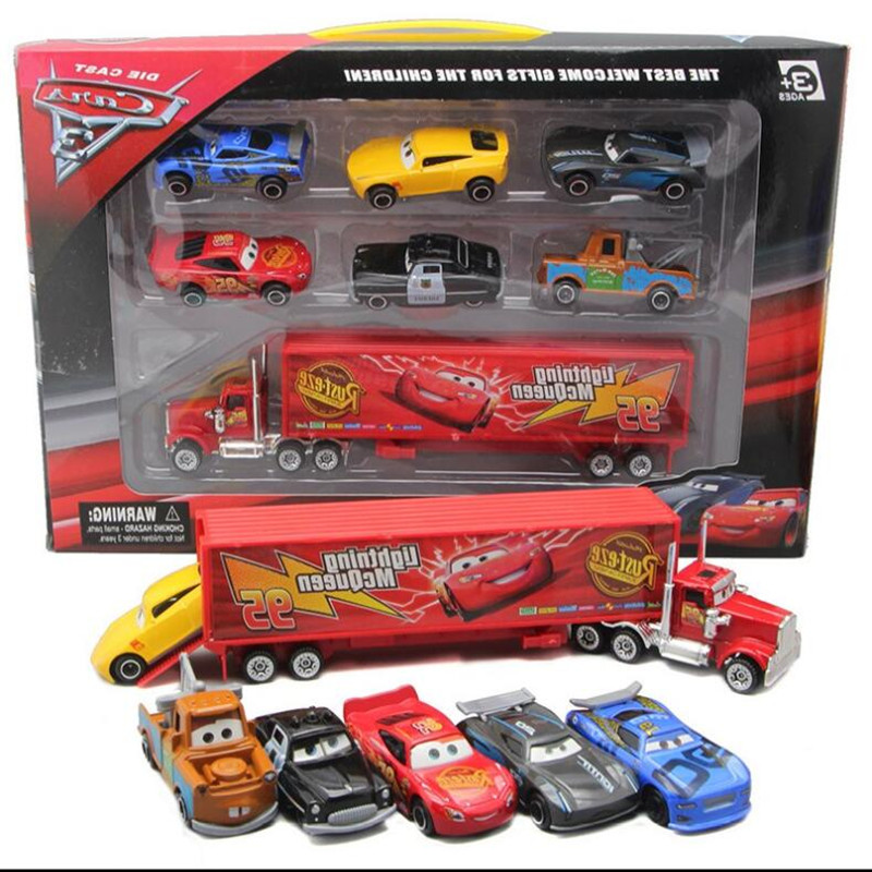 New 7 Piece / Set Disney Pixar Car 3 Lightning McQueen Jackson Storm Material Mack Uncle Truck 1:55 Die Casting Metal Car Model(China)