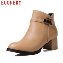 Spring Autumn Round Toe Faux Leather Zip Square Heel Women Ankle Fashion Boots Shoes Woman Top Size 14