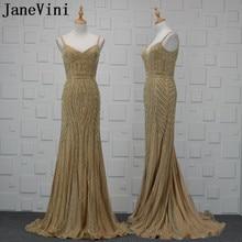 JaneVini Bling złote afrykańskie koraliki suknie wieczorowe 2018 luksusowe arabski syrenka Backless sukienki dla matki panny młodej formalne suknie