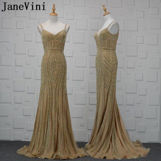 JaneViniเพชรทองลูกปัดแอฟริกันEvening Dresses 2018หรูหราอาหรับเงือกBacklessแม่ของชุดเจ้าสาวชุดอย่างเป็นทางการ
