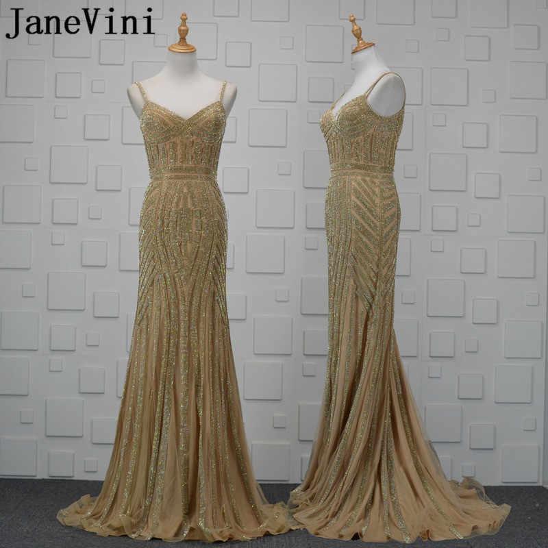 Vestidos de Noche africanos con cuentas de oro de JaneVini 2018 sirena árabe de lujo sin espalda Madre de la novia vestidos formales