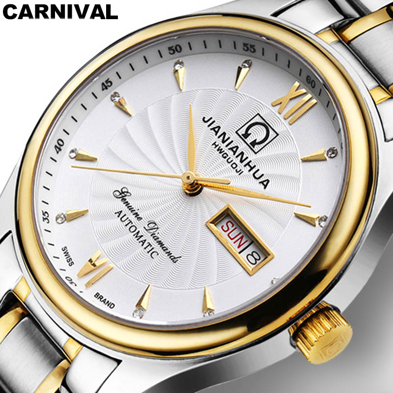 Carnival Watch men Stainless Steel Automatic Mechanical Luminous Waterproof Week date White Watches carnival green tritium watch men automatic mechanical luminous silver stainless steel waterproof date week watches