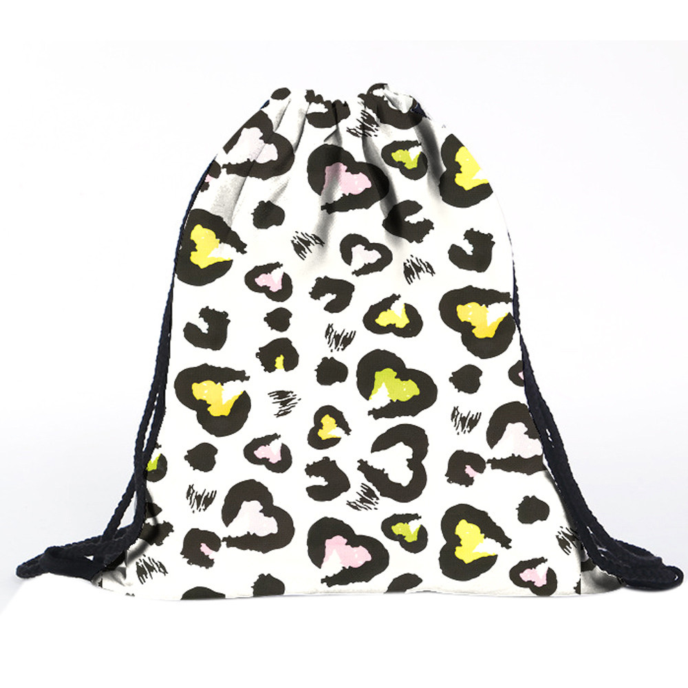 2018 hot sale women bag Unisex Heart-shaped leopard Backpacks Printing Bags  Drawstring Backpack mochila xiniu