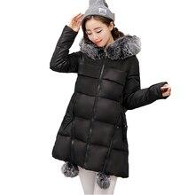 2016 Новые Зимняя Куртка Женщин За Пределами Средней Длины Теплый Молнии Большой Карман Плюс Размер меховой воротник капюшоном Пальто И Пиджаки ST251