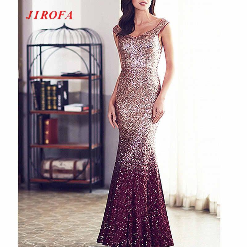 ... JIROFA Sequins Dress Women Vestidos Verano 2018 Maxi Dress Elegant  Trumpet Floor Length Party Prom Evening ... 1cdd7c88b91c