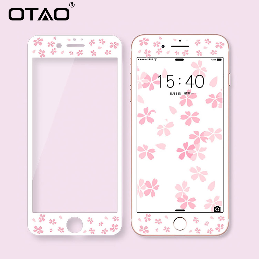 OTAO 3D Full Cover Colorful Tempered Glass For iPhone 6 6S Plus Soft Edge Screen Protector For iPhone 7 8 Plus Protective Film