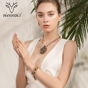Image 2 - Viennois Coffee Gold Color Colorful Crystals Pendants Necklace Earring Ring Bracelet Jewelry Sets for Women Luxury Party Jewelry