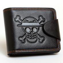 HUIMENG Men Boys One Piece Luffy Wallet Monkey D Straw Hat Pirates Anime Skull Purse Black PU Leather