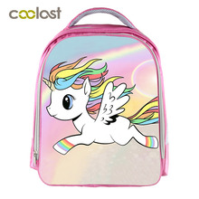 "Pink Cartoon Unicorn Backpack 13"" Kids Children Small Mini School Bags For Girls Student Book Bag Unicorn Rucksack For Teenager"