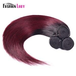 Image 4 - Fashion Lady Per colored Brazilian Straight Hair 3/4 Bundle 1b/99j Ombre Human Hair Extensions Non remy Hair Weave Bundles