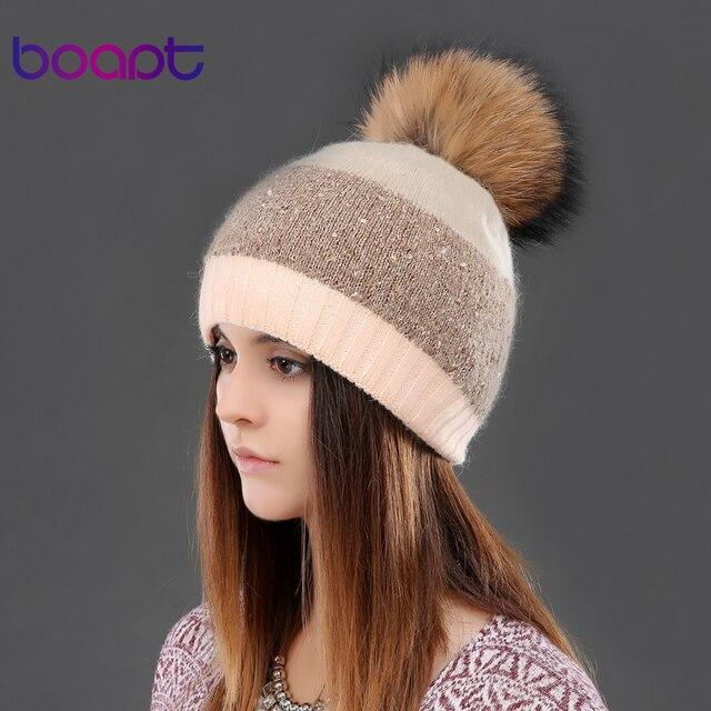 BOAPT блестки двухэтажные кролика knited толстые зимние шапки головные уборы для женщин шапки енота меховым помпоном шапка женская шляпа шапочки