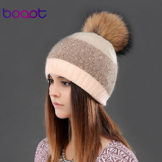 BOAPT sequins double-deck rabbit knited thick winter hats headgear for women's caps raccoon fur pompon cap female hat beanies