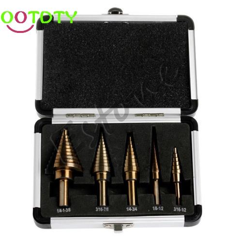 5pcs Hss Cobalt Multiple Hole 50 Sizes Step Drill Bit Set W/ Aluminum Case 5pcs step drill bit set hss cobalt multiple hole 50 sizes sae step drills 1 4 1 3 8 3 16 7 8 1 4 3 4 1 8 1 2 3 16 1 2 drill bits