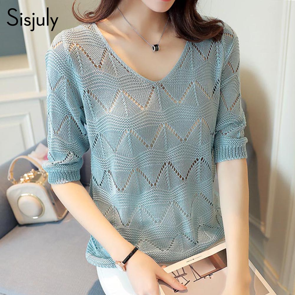 7b69b7415068 Sisjuly women summer hollow-out knitwear v-neck half sleeve straight loose  pullover knit