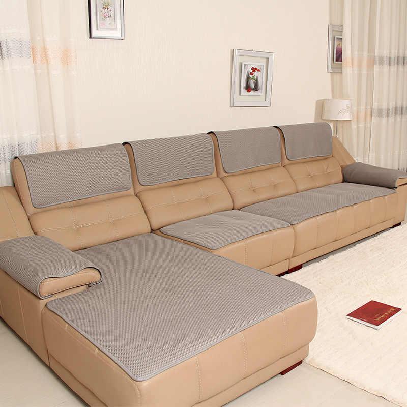 Housse de canapé en cuir maille respirante anti-dérapant housses de canapé pour canapé quatre saisons solide canapé coussin pour salon housse de siège
