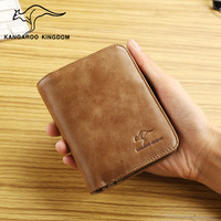 KANGAROO KINGDOM luxury men wallets genuine leather vintage male trifold wallet card holder purse with zipper coin pocket