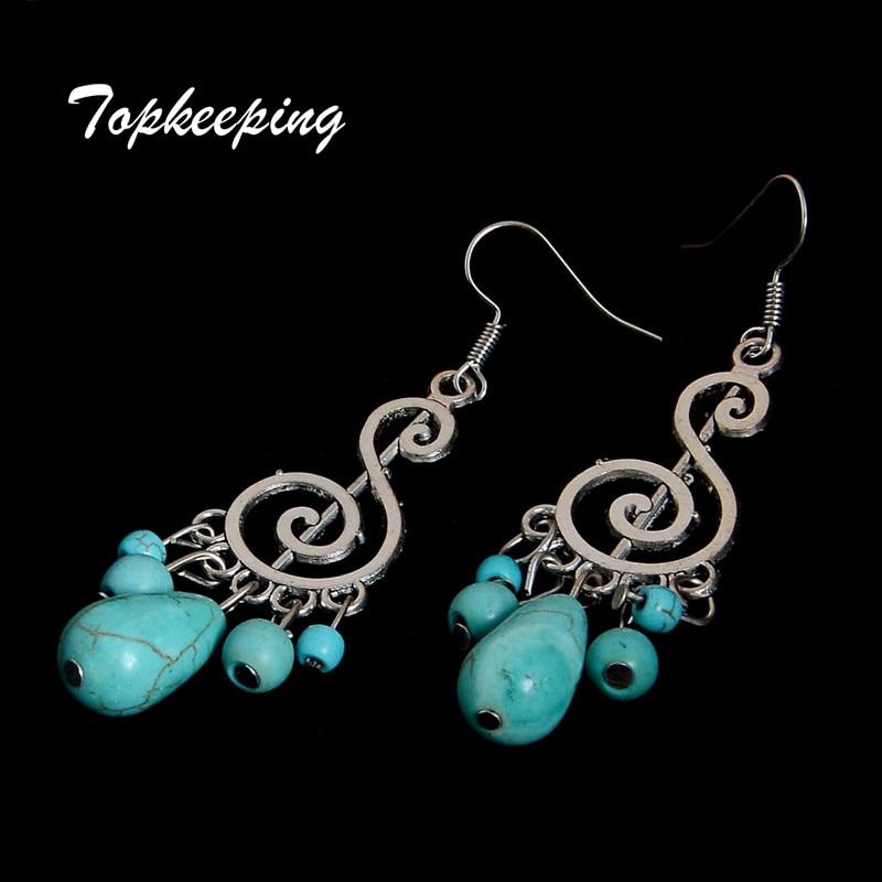 M00-292 Turquoise Dangle Fashion Retro Pendant Mujer Pendientes Jewelry Ethnic Vintage Tibetan Silver Earrings Free Shipping Ювелирное изделие