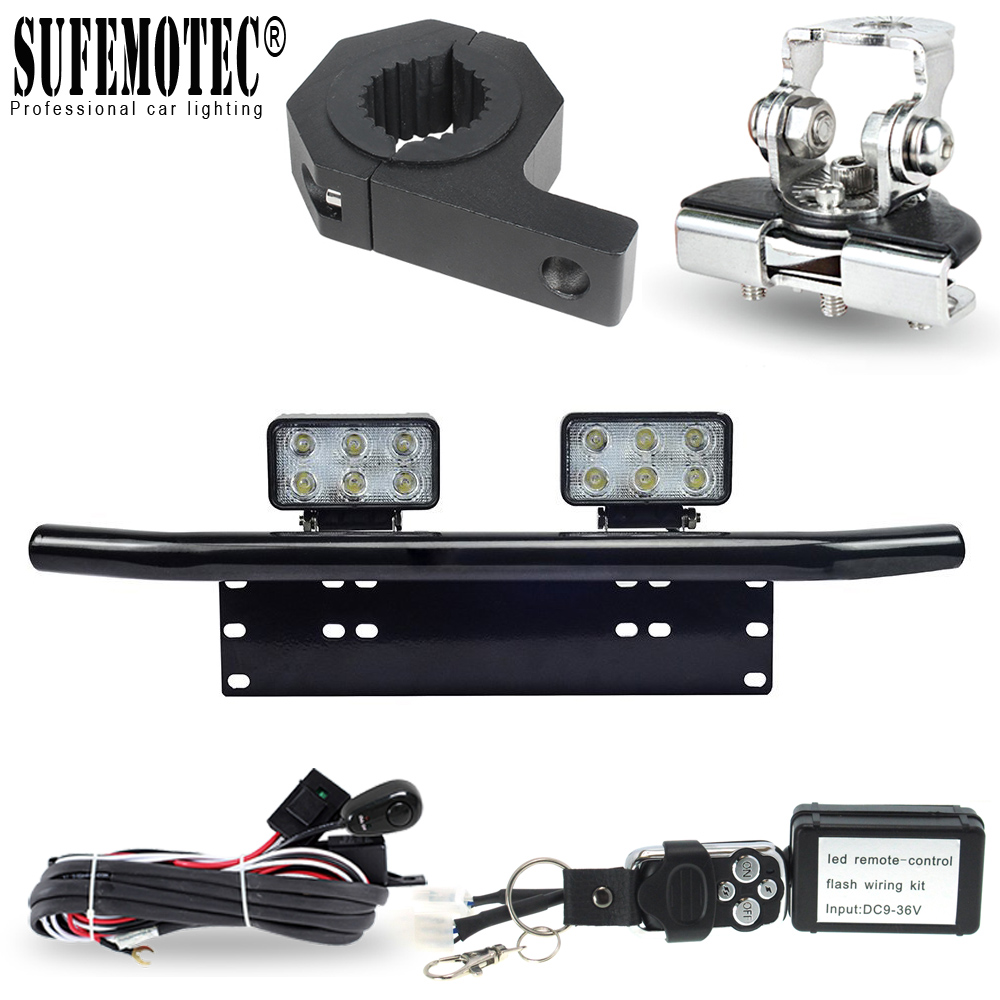 Led Work Light Bar 12V 24V Remote Control Wire Harness Kit Universal Tube Hood Roof License Installation Bracket