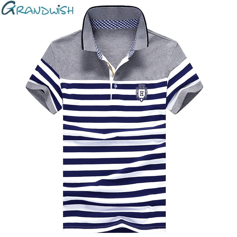 Grandwish Stripe   Polo   Shirts Mens Slim Fit Short Sleeve Striped   Polo   Shirts for Men Summer Turn-down Collar Homme   Polos   ,PA985