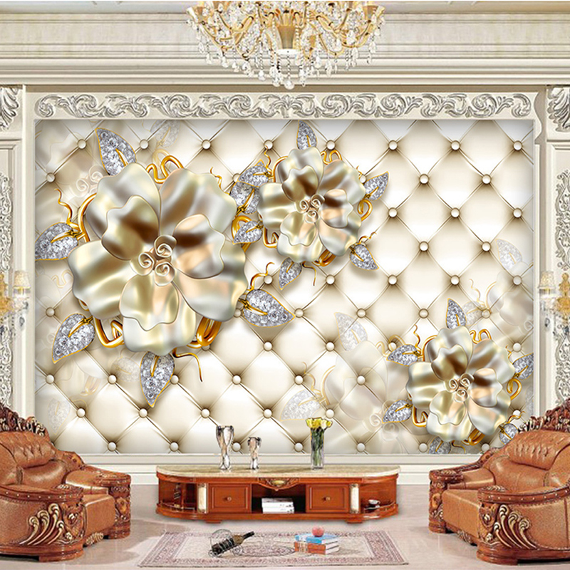 Custom 3d HD Photo Wallpaper Mural Home Decor Living Room Bedroom Backdrop Wallpaper Luxury Light Gold Soft Background Flowers book knowledge power channel creative 3d large mural wallpaper 3d bedroom living room tv backdrop painting wallpaper