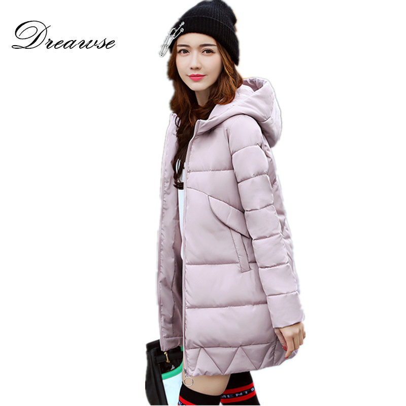 Dreawse Winter Women Korean Hooded Long Parkas Padded-Cotton Large Size Female Jacket Solid Color Thick Warm Coat Mujer MZ1696 korean winter jacket women large size long coat female snow wear cotton parkas hooded thick warm coats and jackets 7 colors