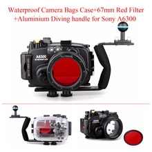 Meikon 40m/130ft Waterproof Underwater Camera Housing Case for Sony A6300 with 16-50mm Lens +Aluminium Diving handle +Red Filter