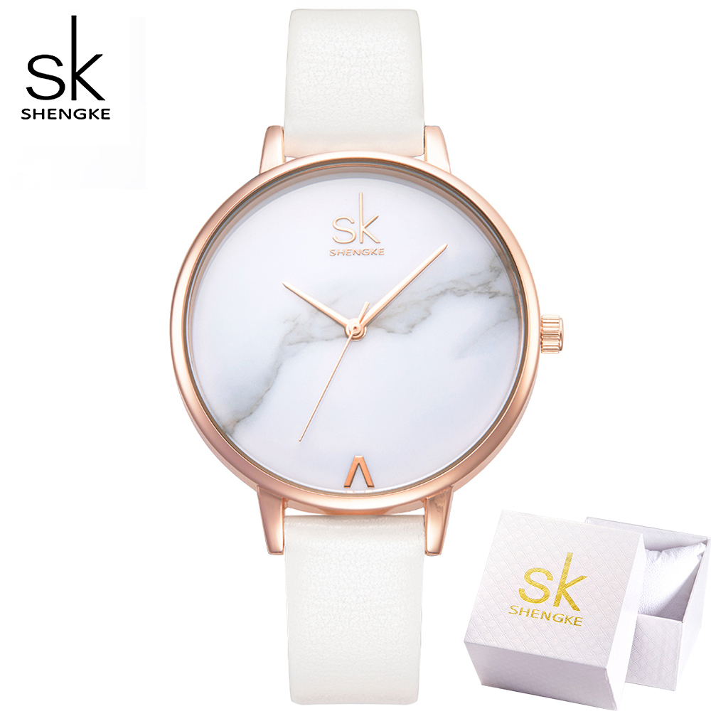 SK Top Brand Ladies Fashion Marble Dial Watches Women Quartz Watch Elegant White Thin Leather Strap Wristwatches Reloj Mujer