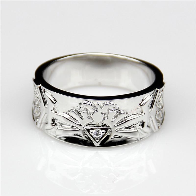Antique Round Moissanites Wide Band Zelda Legend Style 9k White Gold Engagement Ring Esdomera Moissanites Men's Wedding Band