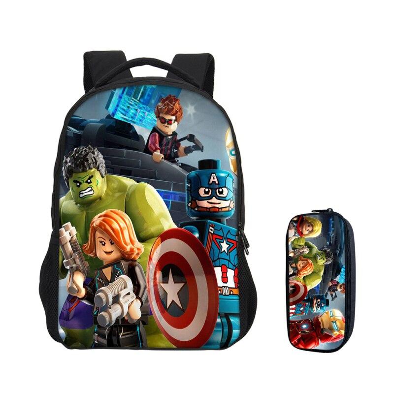 Cartoon 3D impression sacs à dos pour garçons filles sac d'école 2 pièces/ensemble Bookbag avec pochette stylo enfants Mochila Escolar