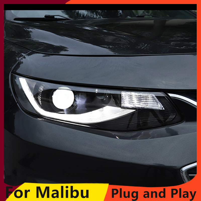 Image 2 - Car Styling For Malibu Headlights 2016 2018 Malibu LED Headlight LED DRL dynamic turn signal  Bi Xenon HID Accessories-in Car Light Assembly from Automobiles & Motorcycles