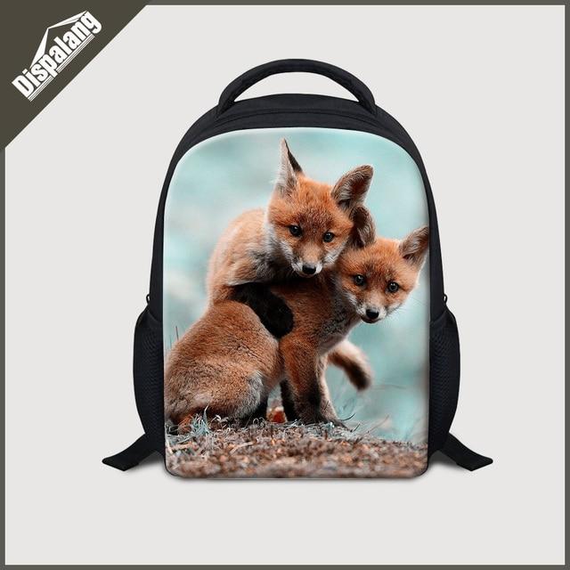 c0cf9edb5a Dispalang 3D animals print school bags for kindergarten cool fox children  mini backpacks 12 inch kids bagpack mochilas infantil
