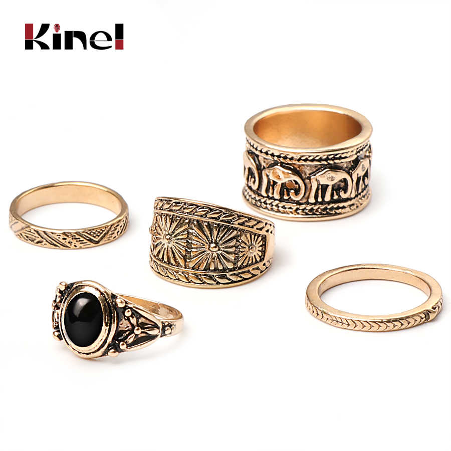 Kinel Bohemia Opal Stone Rings Set For Women Statement Vintage Gold Color Knuckle Ring Geometric Female Fashion Jewelry Gifts