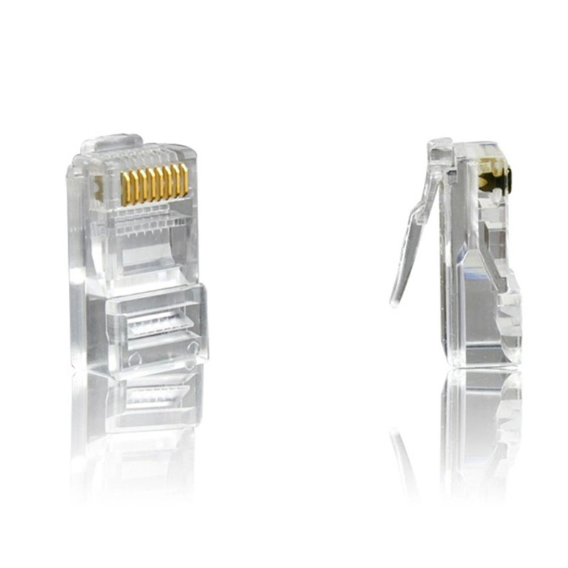 RJ45 Shielded Connector Cat5e Cat6 3U Hole Network Rj45 Connector Plugs RJ45 Ethernet Cable 23AWG Crystal Head 8 Line Slot
